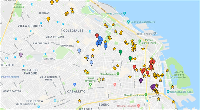 Mapa de atracciones de Buenos Aires