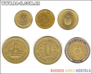 Frente de las monedas argentinas de 1 centavo a 1 peso