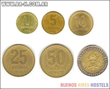 Reverso de las monedas argentinas de 1 centavo a 1 peso