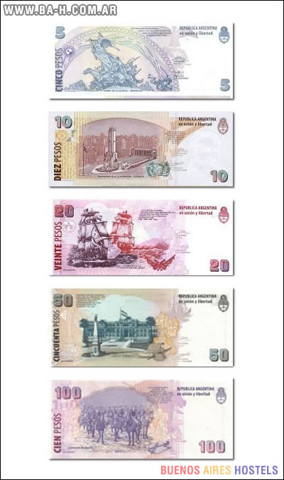 Reverso de los billetes argentinos
