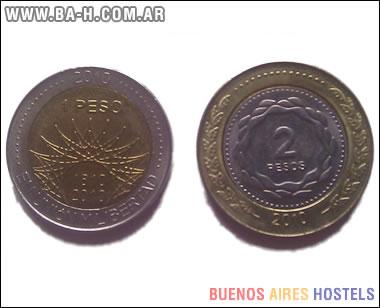 Reverso de las monedas $1 y $2 del Bicentenario