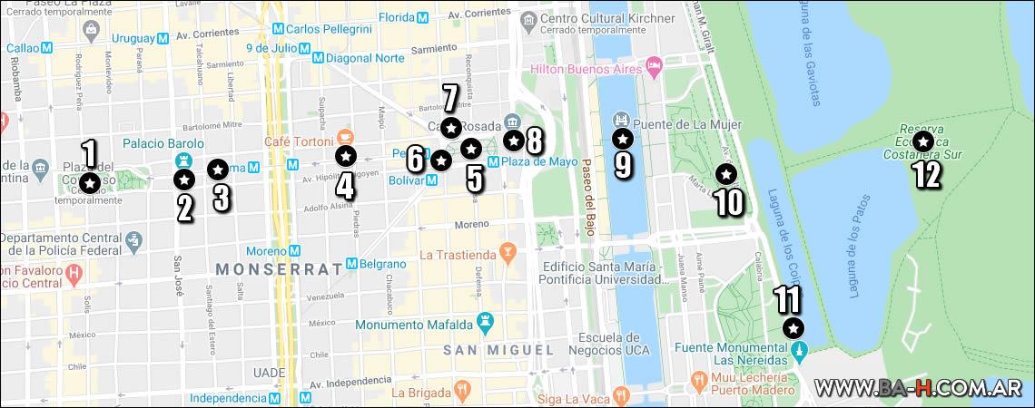 Mapa 7 dias en Buenos Aires