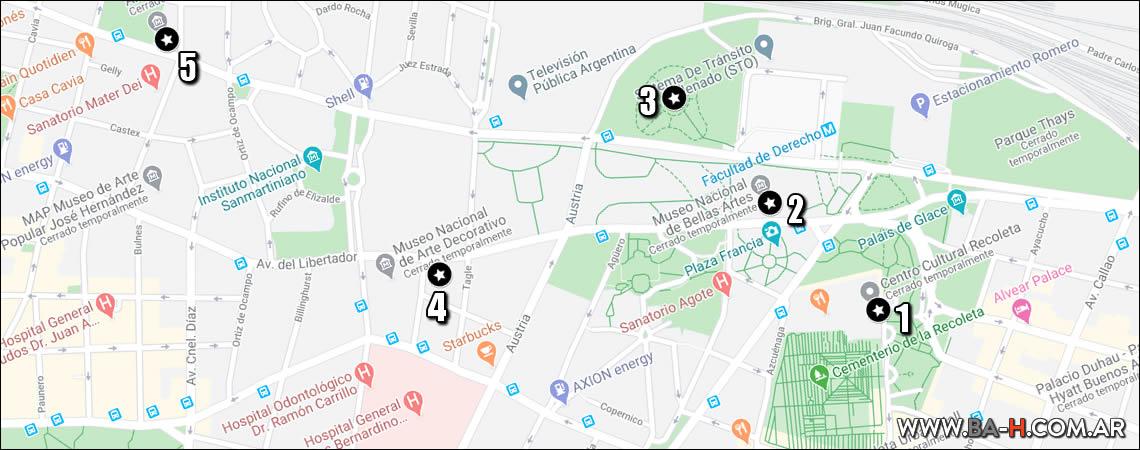 Mapa de recorrido: museos