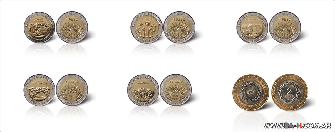 Monedas y billetes en Argentina, las monedas edición bicentenario